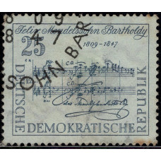 1959, февраль. Почтовая марка Германии (ГДР). 150 лет со дня рождения Феликса Мендельсона-Бартольди. 25 пфенинг