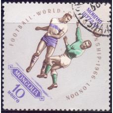 1966, май. Почтовая марка Монголии. Чемпионат мира по футболу - Англия. 10 монго
