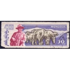 1961, июль. Почтовая марка Монголии. 40-летие Народной Республики. Животноводство. 30 монго