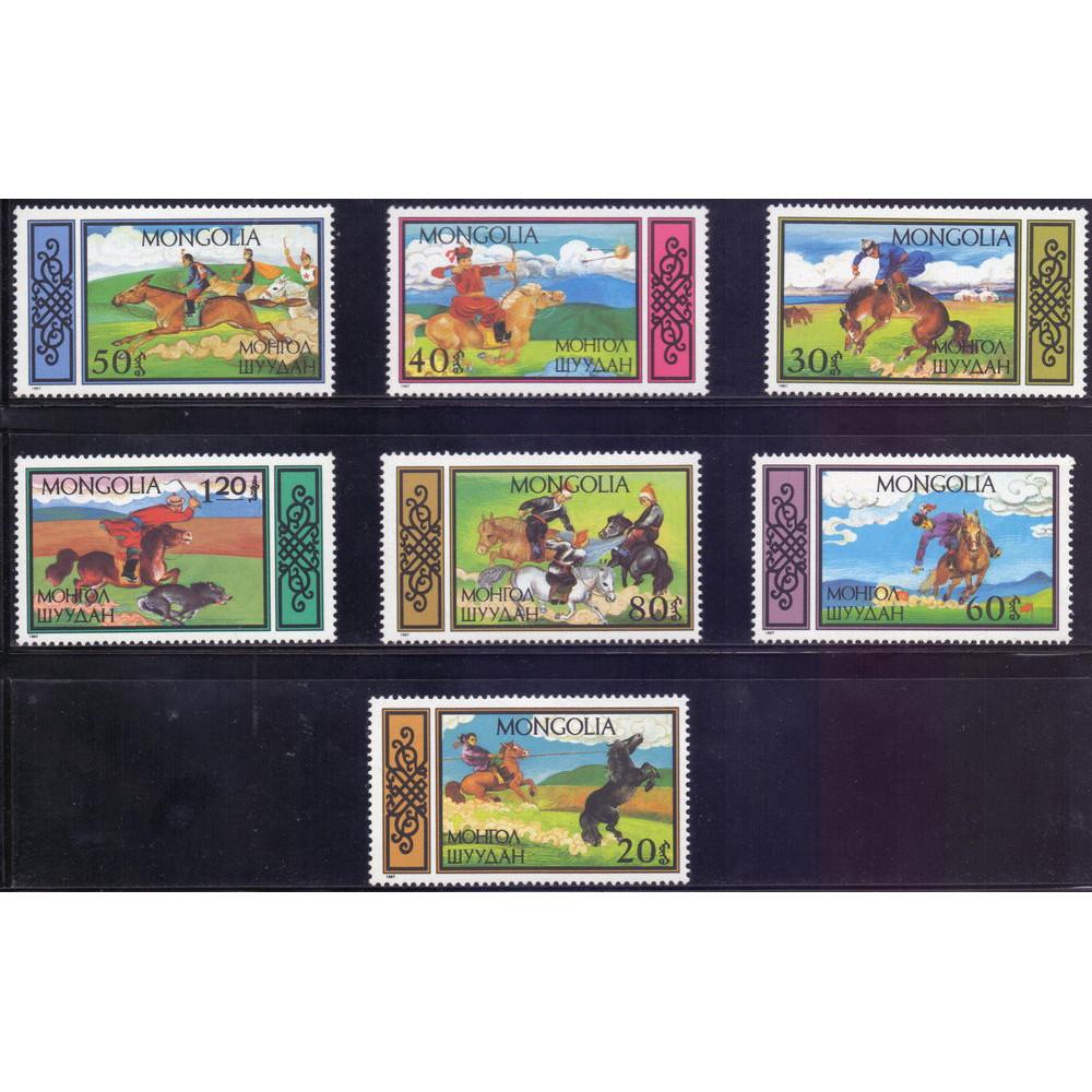 1987, февраль. Набор почтовых марок Монголии. Конный спорт