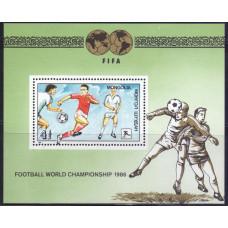 1986, май. Сувенирный лист Монголии. Чемпионат мира по футболу, Мексика