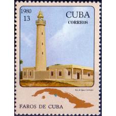Почтовая марка Кубы. Faros de Cuba. 13 центаво. 1980
