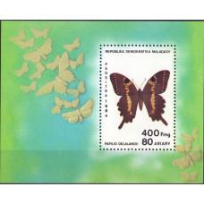 1984. Сувенирный лист Мадагаскара. Papilio Delalandii. 400 франков.