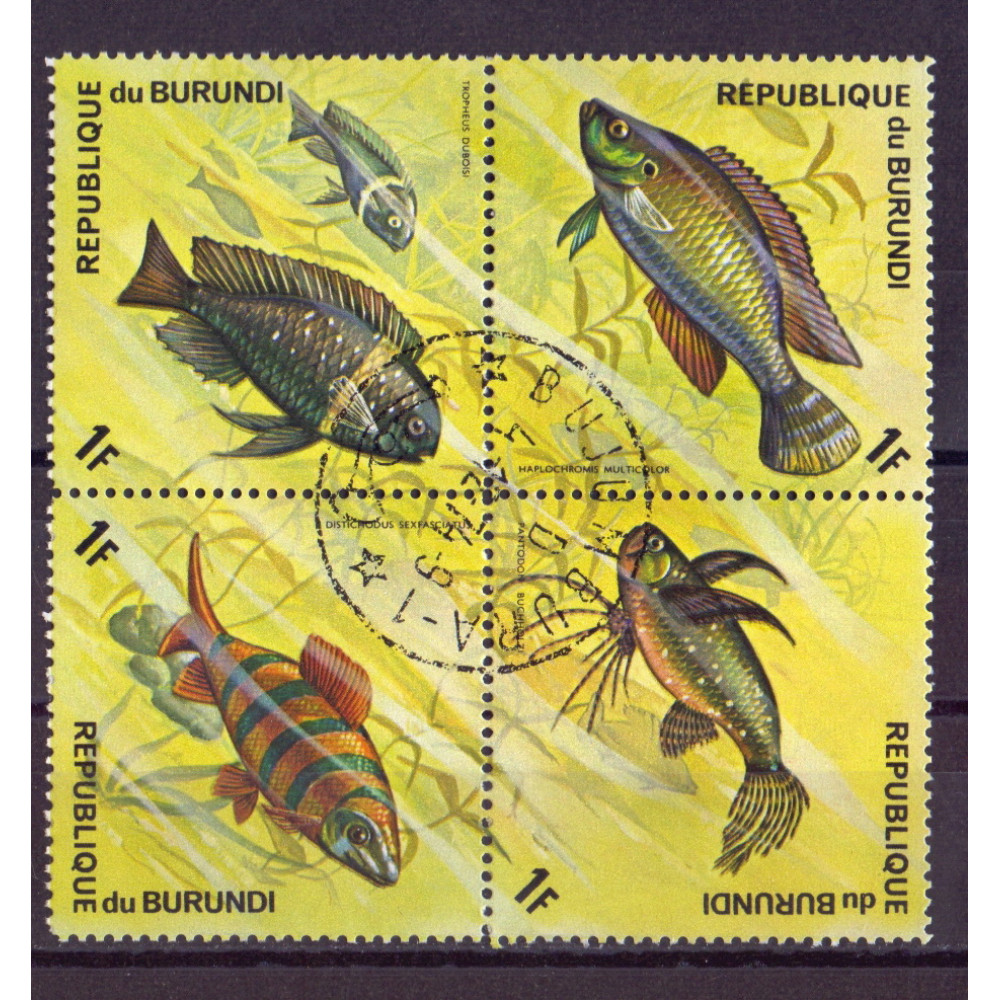 Квартблок Republique du burundi fish. Бурунди. Рыбы 1F