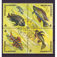 Квартблок Republique du burundi fish. Бурунди. Рыбы 1F