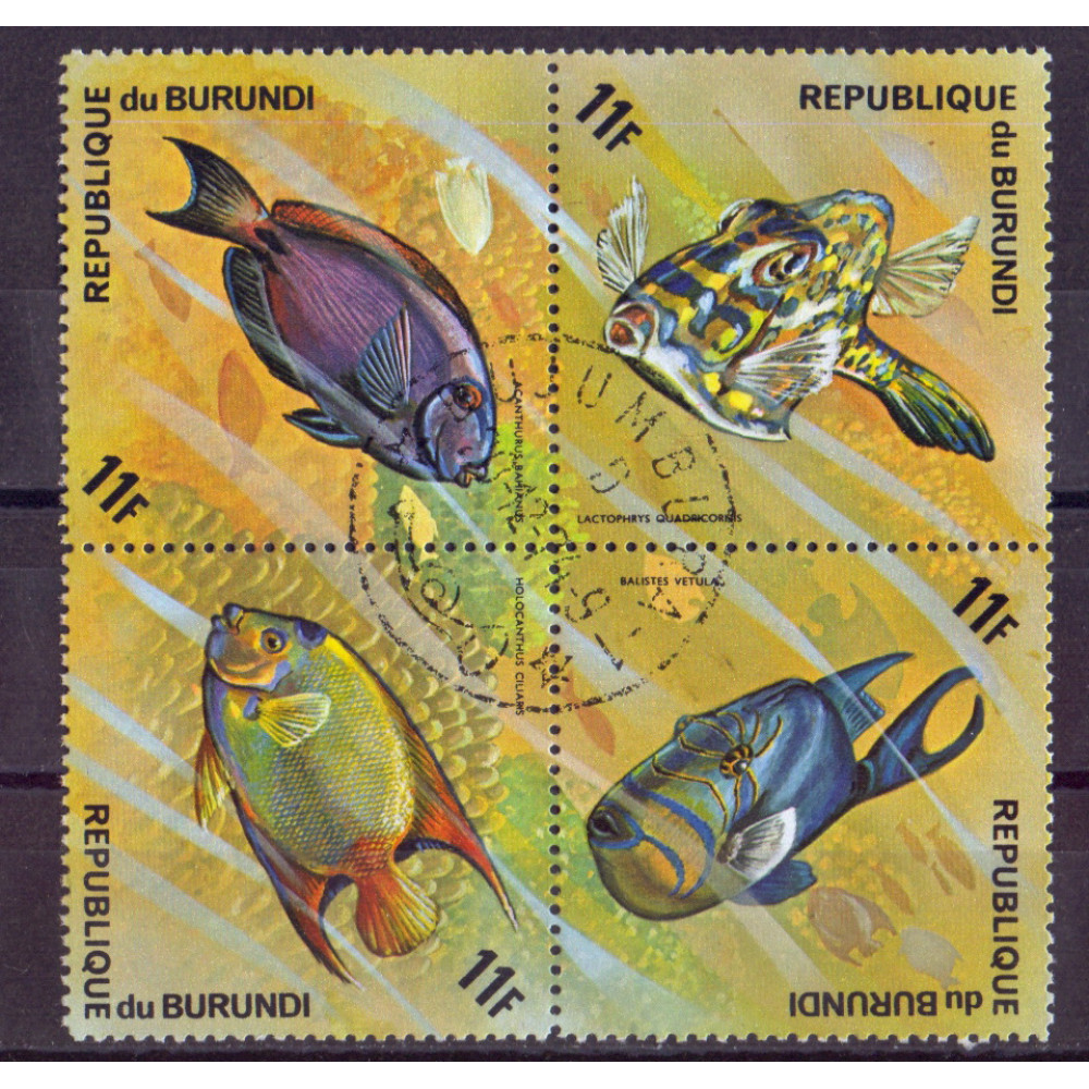 Квартблок Republique du burundi fish. Бурунди. Рыбы 11F