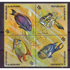 Квартблок Republique du burundi fish. Бурунди. Рыбы 11F