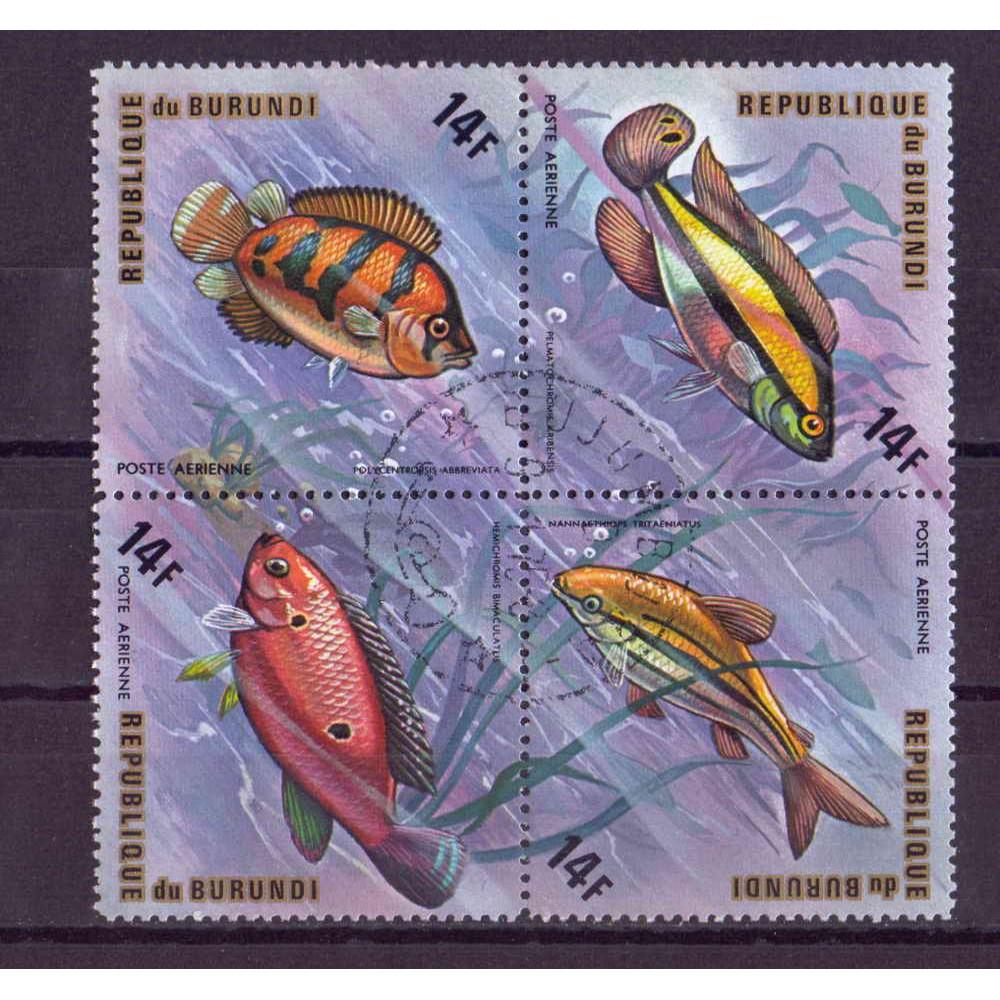 Квартблок Republique du burundi fish. Бурунди. Рыбы 14F