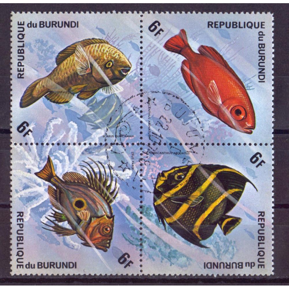 Квартблок Republique du burundi fish. Бурунди. Рыбы 6F