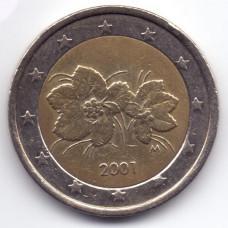 2 евро 2001 года Финляндия - 2 euro 2001 Finland, из оборота