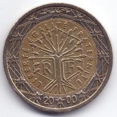 2 евро 2000 Франция - 2 euro 2000 France, из оборота