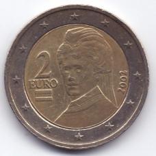 2 евро 2002 года Австрия - 2 euro 2002 Austria, из оборота