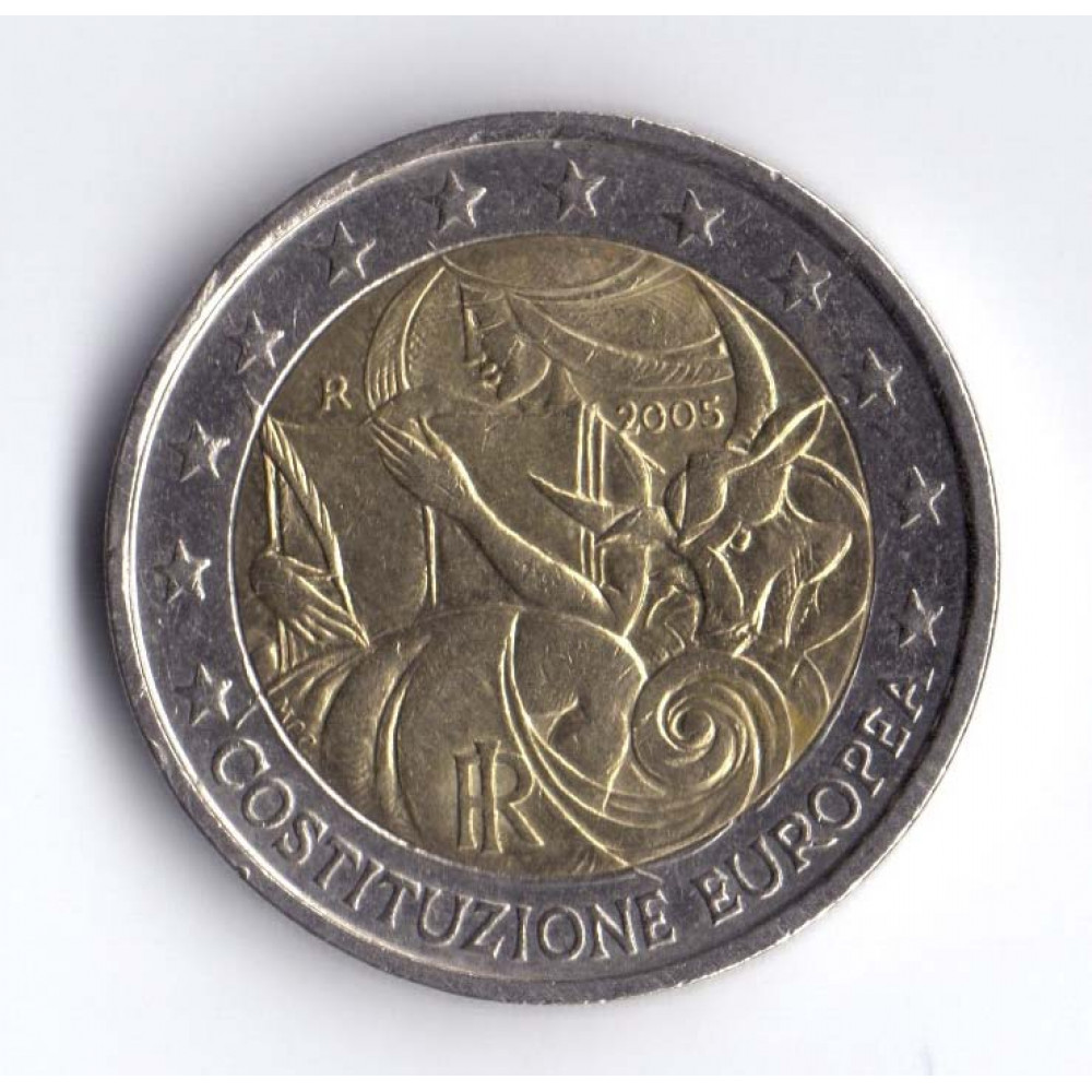 2 евро 2005 Италия 1 год с момента подписания европейской Конституции