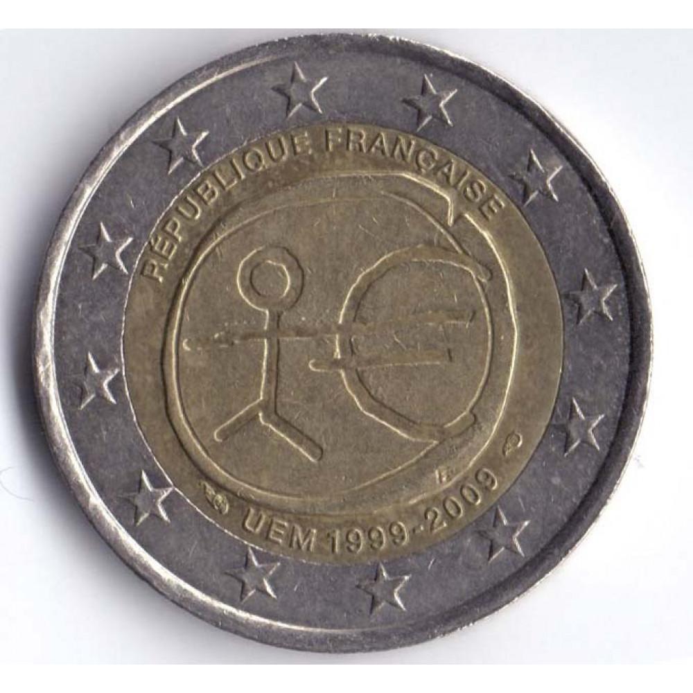 2 евро 2009 Франция 10 лет монетарной политики ЕС (EMU) и введения евро