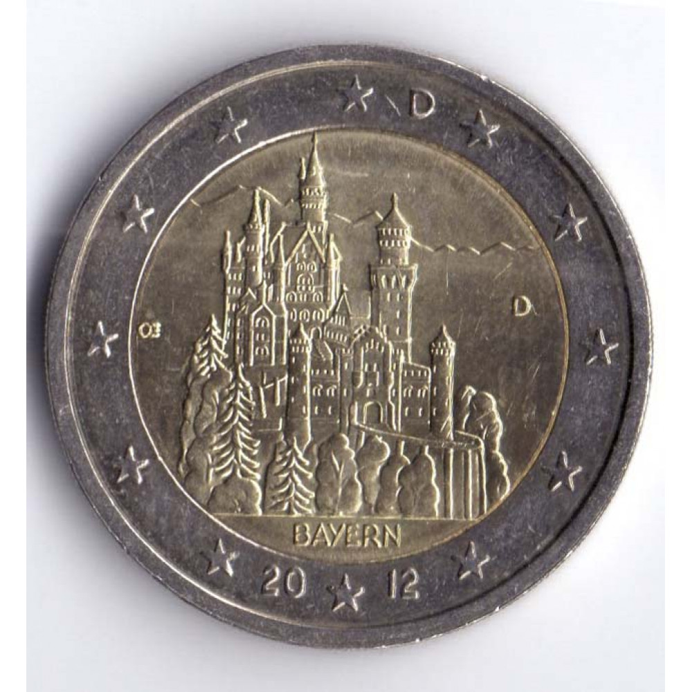 2 евро 2012 Германия Федеральные земли Германии - Замок Нойшванштайн, Бавария
