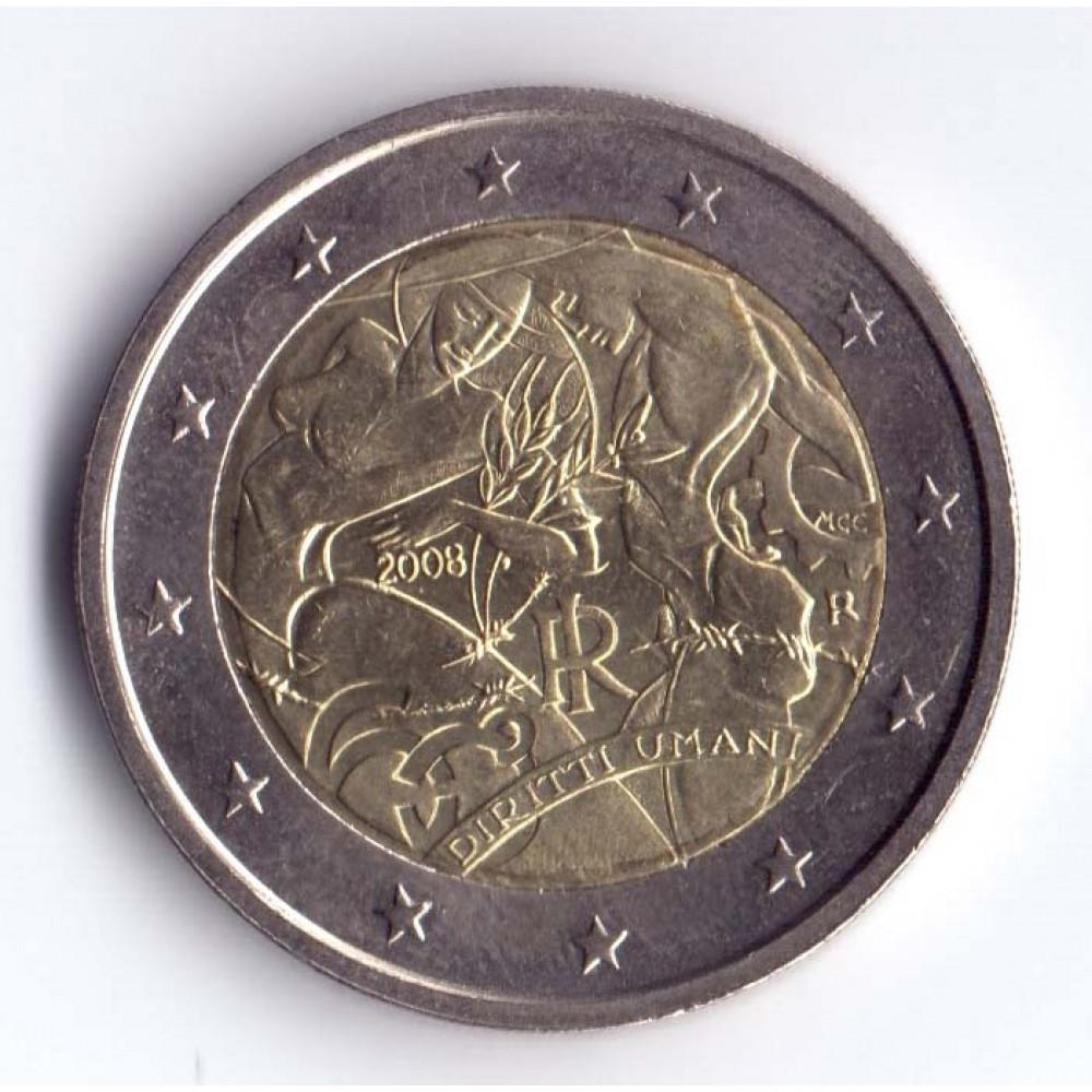 2 евро 2008 Италия 60 лет Всеобщей Декларации Прав Человека