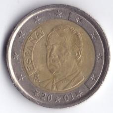 2 евро 2001 Испания - 2 euro 2001 Spain, из оборота