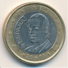 1 евро 2008 Испания - 1 euro 2008 Spain, из оборота