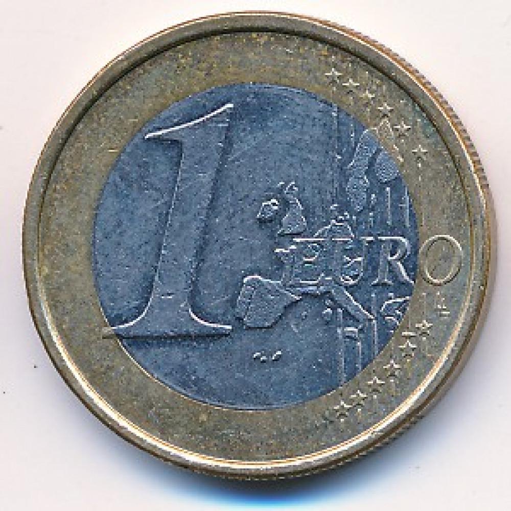 1 евро 2002 года Германия - 1 euro 2002 Germany, G, из оборота