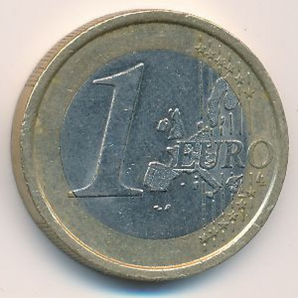 1 евро 2002 года Германия - 1 euro 2002 Germany, F, из оборота