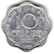 10 центов 1988 Шри-Ланка - 10 cents 1988 Sri Lanka, из оборота