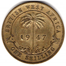 1 шиллинг 1947 Британская Западная Африка - 1 shilling 1947 British West Africa, из оборота