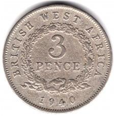 3 пенса 1940 Британская Западная Африка - 3 pence 1940 British West Africa, из оборота