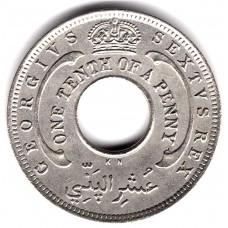 1/10 пенни 1950 Британская Западная Африка - 1/10 penny 1950 British West Africa, из оборота