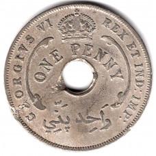 1 пенни 1944 Британская Западная Африка - 1 penny 1944 British West Africa, из оборота