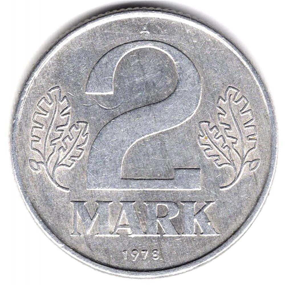 2 марки 1978 Германия (ГДР) - 2 marks 1978 Germany (GDR), из оборота