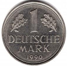 1 марка 1990 Германия - 1 mark 1990 Germany, D, из оборота