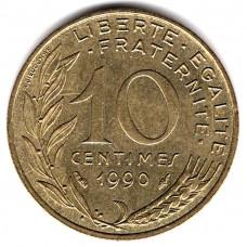 10 сантимов 1990 Франция - 10 centimes 1990 France, из оборота