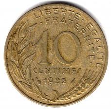 10 сантимов 1982 Франция - 10 centimes 1982 France, из оборота