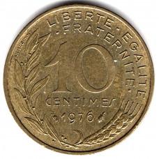 10 сантимов 1976 Франция - 10 centimes 1976 France, из оборота