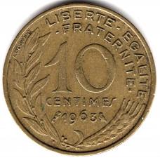 10 сантимов 1963 Франция - 10 centimes 1963 France, из оборота
