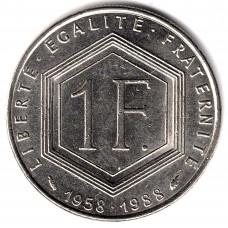 1 франк 1988 Франция - 1 franc 1988 France, из оборота
