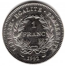 1 франк 1992 Франция - 1 franc 1992 France, из оборота