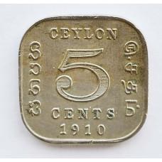 5 центов 1910 Цейлон - 5 cents 1910 Ceylon, из оборота