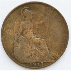 1 пенни 1917 Великобритания - 1 penny 1917 Great Britain, из оборота