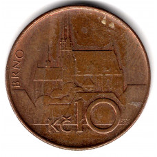 10 крон 1993 Чехия - 10 krone 1993 Czech Republic, из оборота