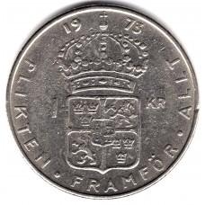 1 крона 1973 Швеция - 1 krona 1973 Sweden, из оборота
