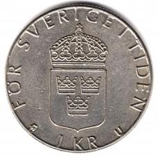 1 крона 1982 Швеция - 1 krona 1982 Sweden, из оборота