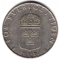 1 крона 1977 Швеция - 1 krona 1977 Sweden, из оборота