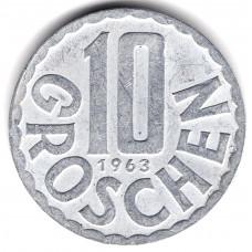 10 грошей 1963 Австрия - 10 groschen 1963 Austria, из оборота