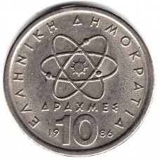 10 драхм 1986 Греция - 10 drachmes 1986 Greece, из оборота