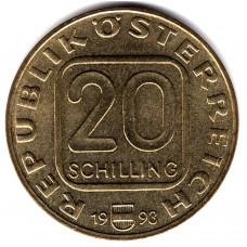 20 шиллингов 1993 Австрия - 20 schilling 1993 Austria, из оборота