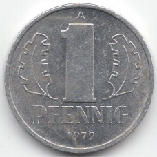 1 пфенниг 1979 Германия (ГДР) - 1 pfennig 1979 Germany (GDR), А, из оборота