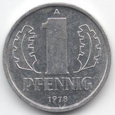 1 пфенниг 1978 Германия (ГДР) - 1 pfennig 1978 Germany (GDR), А, из оборота