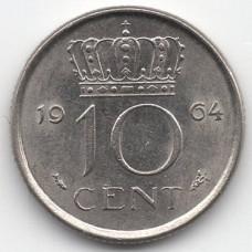 10 центов 1964 Нидерланды - 10 cents 1964 Netherlands, из оборота