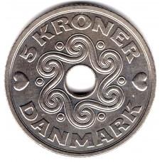 5 крон 1994 Дания - 5 kroner 1994 Denmark, из оборота